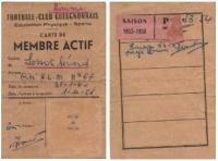 Saison 1953-54    Carte de membre actif de Lossot Gérard